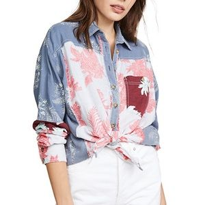 Free People Chasing Waves Button Down Shirt Linen